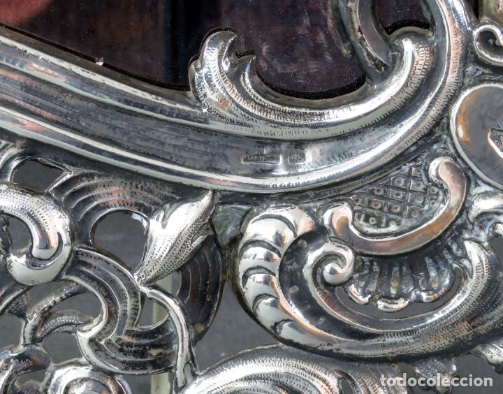 Antigüedades: Espejo con marco en plata cincelada con marcas platería Martinez hacia 1900 - Foto 5 - 194407070