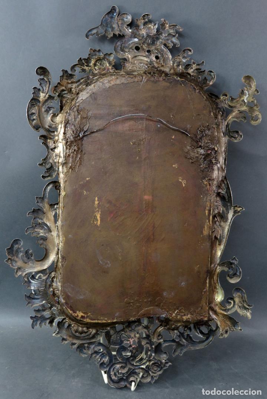 Antigüedades: Espejo con marco en plata cincelada con marcas platería Martinez hacia 1900 - Foto 7 - 194407070