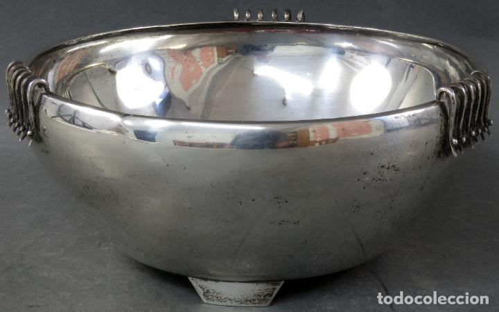 Antigüedades: Centro de mesa en plata catalana y decoración en esmalte Tortosa siglo XX - Foto 3 - 194408140