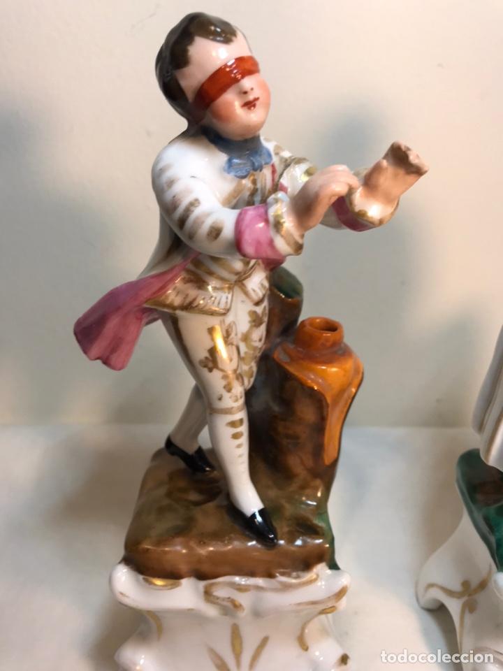 Antigüedades: 2 Figuras Porcelana- Francia- Violeteros- 18 cm - Foto 2 - 194493191