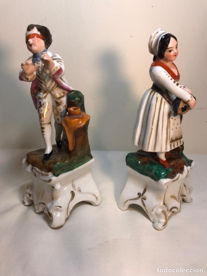 Antigüedades: 2 Figuras Porcelana- Francia- Violeteros- 18 cm - Foto 4 - 194493191