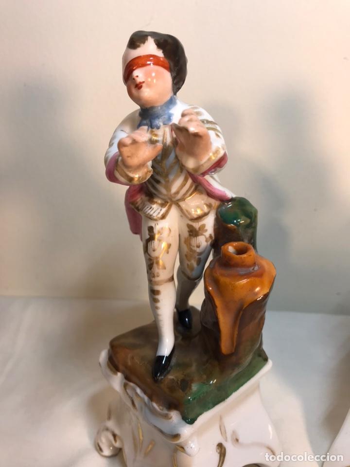 Antigüedades: 2 Figuras Porcelana- Francia- Violeteros- 18 cm - Foto 5 - 194493191