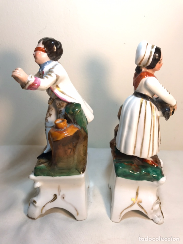 Antigüedades: 2 Figuras Porcelana- Francia- Violeteros- 18 cm - Foto 7 - 194493191