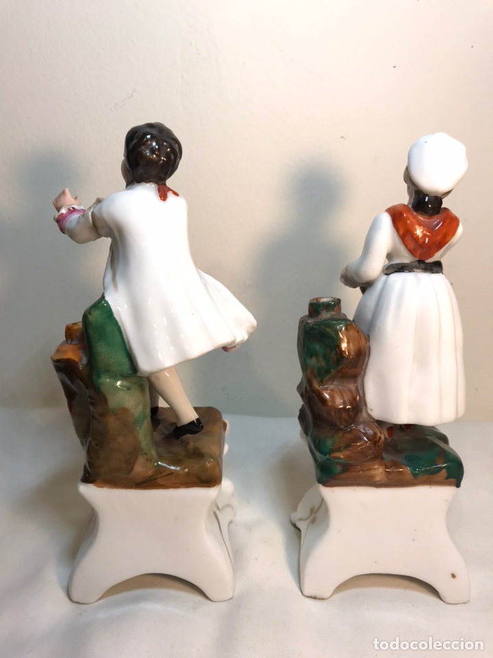 Antigüedades: 2 Figuras Porcelana- Francia- Violeteros- 18 cm - Foto 8 - 194493191