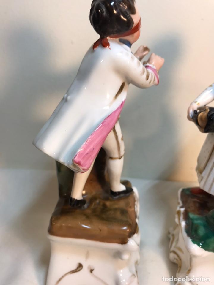 Antigüedades: 2 Figuras Porcelana- Francia- Violeteros- 18 cm - Foto 11 - 194493191