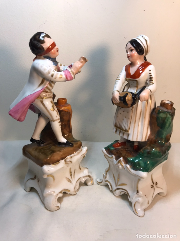 Antigüedades: 2 Figuras Porcelana- Francia- Violeteros- 18 cm - Foto 12 - 194493191