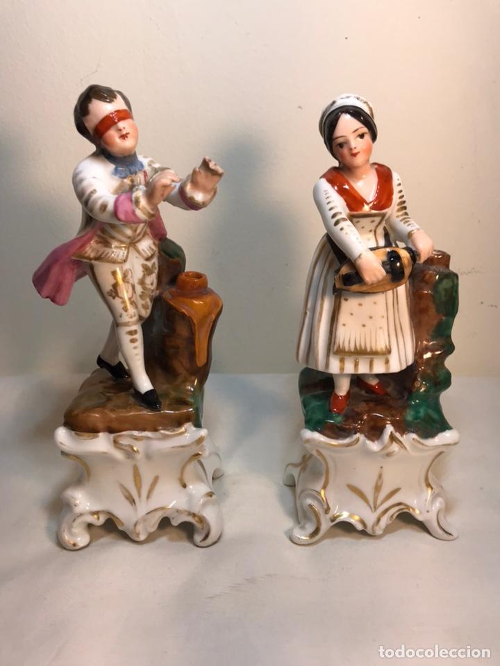2 FIGURAS PORCELANA- FRANCIA- VIOLETEROS- 18 CM (Antigüedades - Porcelana y Cerámica - Francesa - Limoges)