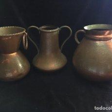 Antigüedades: TRES VASIJAS ANTIGUAS DE COBRE. Lote 194493805