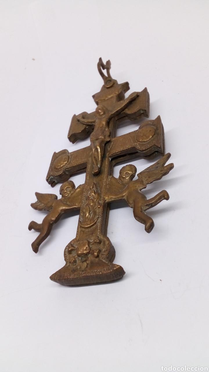 CRUZ DE CARAVACA DE BRONCE ANTIGUO SIGLO XIX (Antigüedades - Religiosas - Cruces Antiguas)