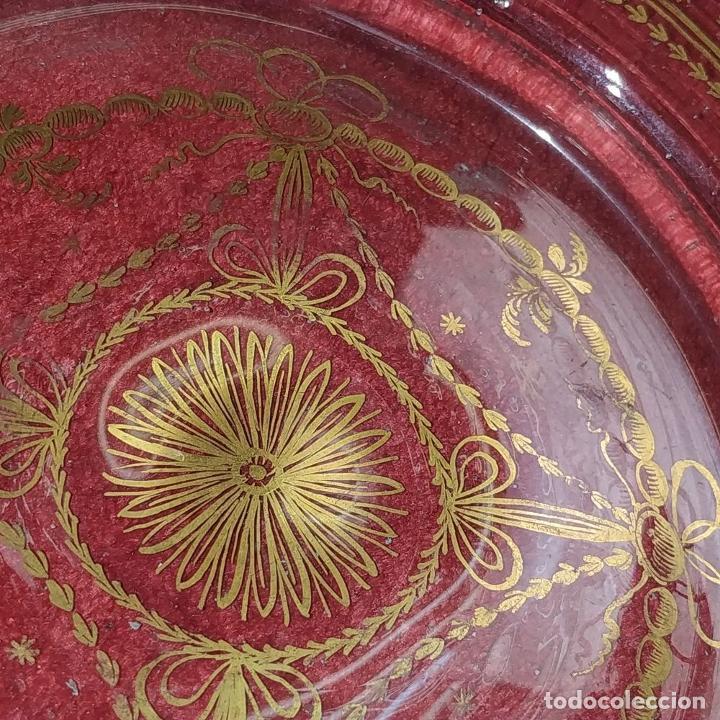 Antigüedades: POTICHE. CRISTAL DE LA GRANJA. SOPLADO. DECORACIÓN EN ORO. ESPAÑA. FIN SIGLO XVIII - Foto 7 - 169876368
