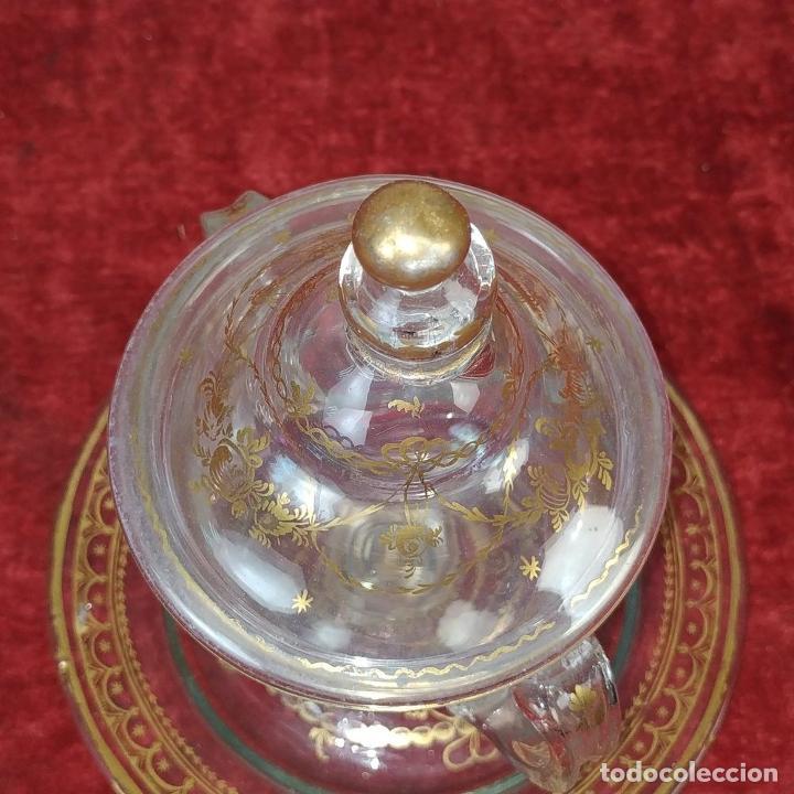 Antigüedades: POTICHE. CRISTAL DE LA GRANJA. SOPLADO. DECORACIÓN EN ORO. ESPAÑA. FIN SIGLO XVIII - Foto 16 - 169876368