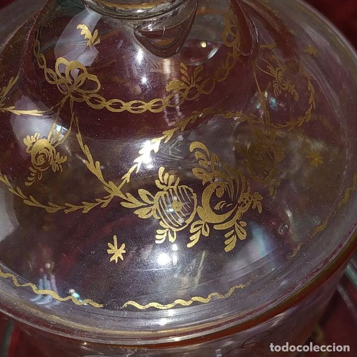 Antigüedades: POTICHE. CRISTAL DE LA GRANJA. SOPLADO. DECORACIÓN EN ORO. ESPAÑA. FIN SIGLO XVIII - Foto 19 - 169876368