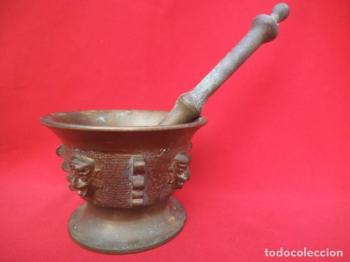 Antigüedades: BONITO ALMIREZ DE BRONCE CON CUATRO COSTILLAS y CUATRO CARAS - Foto 3 - 194501696