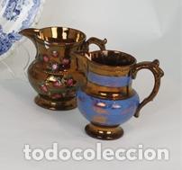 DOS JARRAS CERÁMICA BRISTOL, INGLATERRA, FFS. XIX. (Antigüedades - Porcelanas y Cerámicas - Inglesa, Bristol y Otros)