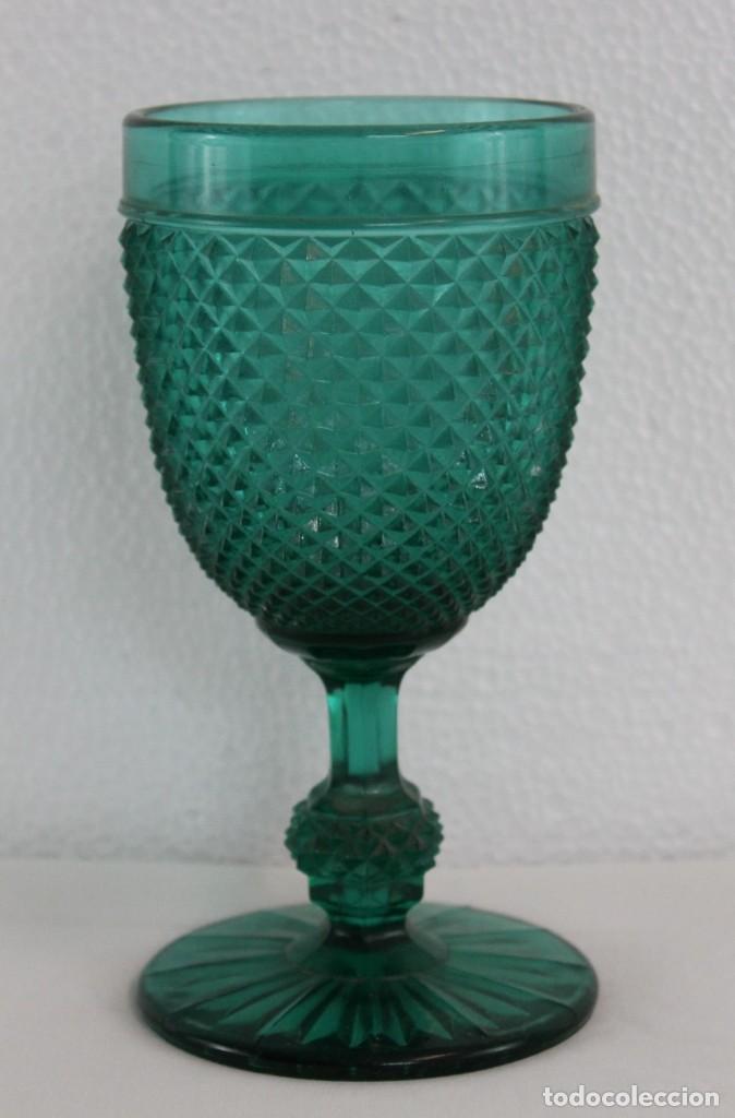 COPA EN CRISTAL PRENSADO VERDE TURQUESA - SIGLO XX (Antigüedades - Cristal y Vidrio - Otros)
