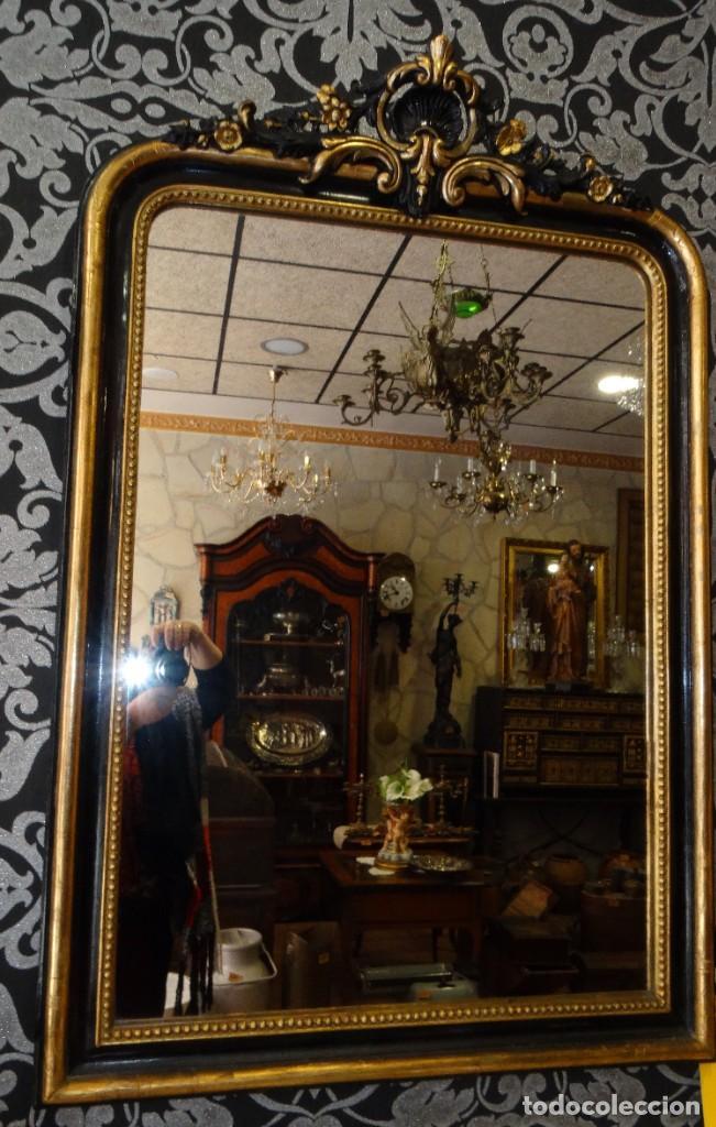 Antigüedades: ESPEJO DE MADERA ANTIGUO MEDIADOS S XIX.PAN DE ORO Y ESTUCO - Foto 3 - 194512216