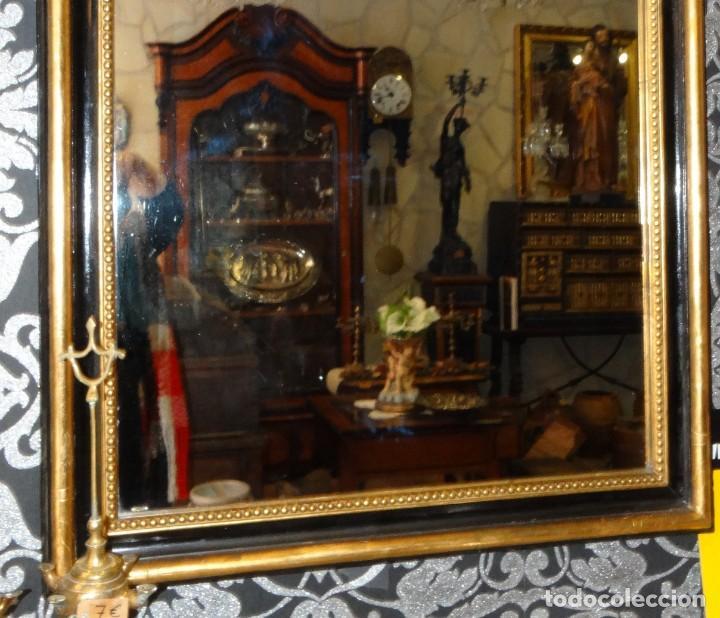 Antigüedades: ESPEJO DE MADERA ANTIGUO MEDIADOS S XIX.PAN DE ORO Y ESTUCO - Foto 5 - 194512216
