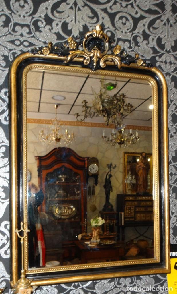 ESPEJO DE MADERA ANTIGUO MEDIADOS S XIX.PAN DE ORO Y ESTUCO (Antigüedades - Muebles Antiguos - Espejos Antiguos)