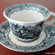 Antigüedades: PLATO Y TAZA DE CAFÉ OCHAVADO NEGRO VISTAS DE CERÁMICA LA CARTUJA (PICKMAN). JUEGO 6 UDS. Lote 194514557