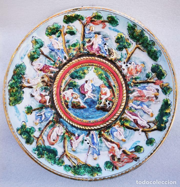 RESERVADO GRAN PLATO FUENTE CAPODIMONTI 33CM DE DIAMETRO (Antigüedades - Porcelanas y Cerámicas - Otras)
