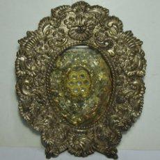 Antigüedades: RELICARIO ANTIGUO. CON 7 RELIQUIAS. SANTA ROSA DE LIMA, SANTA TERESA DE JESUS, PIO I PAPA MARTIR.... Lote 194522050