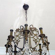 Antigüedades: LAMPARA DE TECHO CON CRISTAL . Lote 194522412