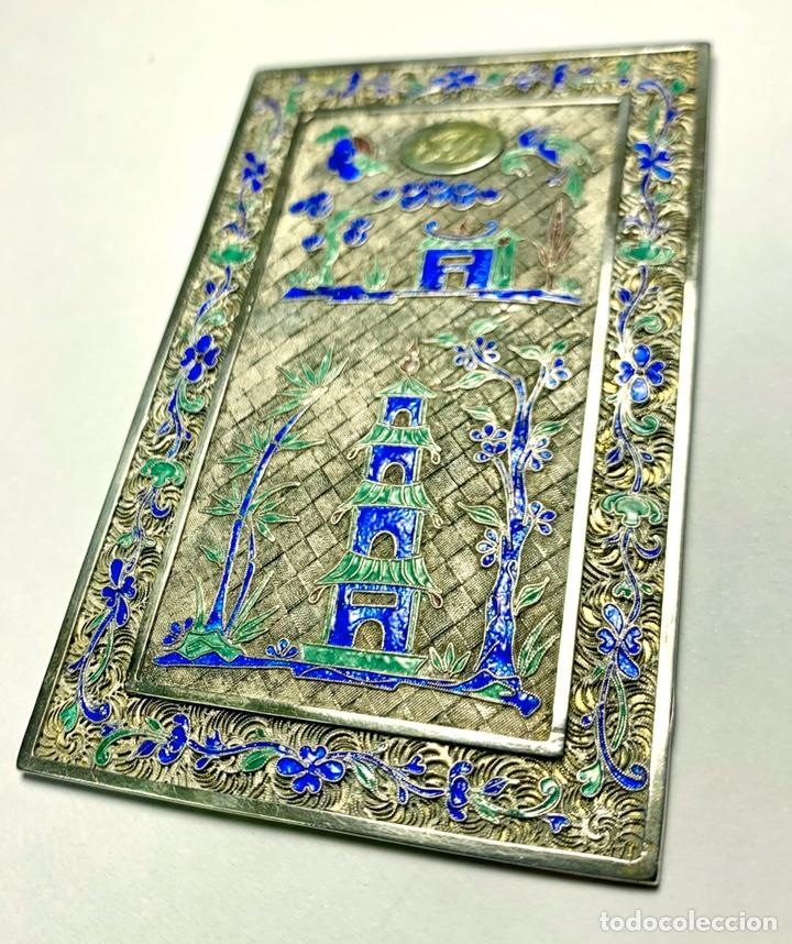 Antigüedades: Antigua placa china en filigrana de plata y esmaltes - siglo XIX - Foto 2 - 194525345