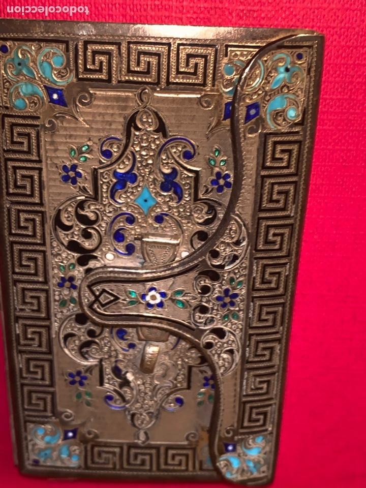 Antigüedades: Soberbio carnet de baile-tarjetero en plata y esmalte. Finales de siglo XIX - Foto 2 - 194526698