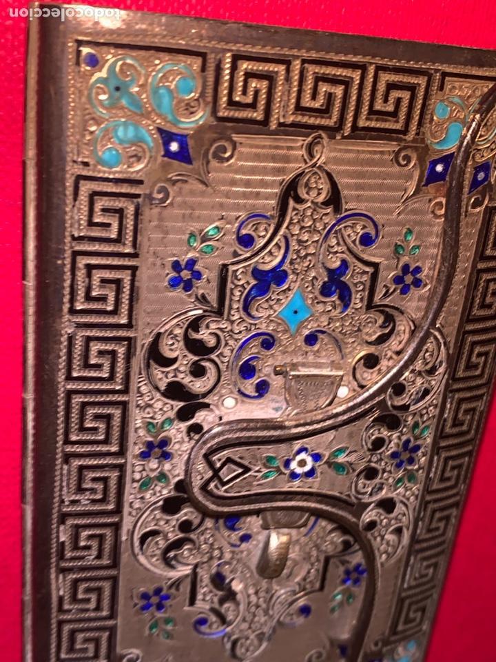 Antigüedades: Soberbio carnet de baile-tarjetero en plata y esmalte. Finales de siglo XIX - Foto 3 - 194526698
