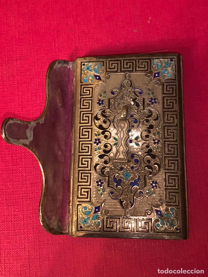 Antigüedades: Soberbio carnet de baile-tarjetero en plata y esmalte. Finales de siglo XIX - Foto 5 - 194526698