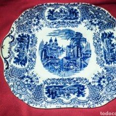 Antigüedades: PICKMAN LA CARTUJA S. XIX, BANDEJA CUADRADA IMPECABLE. PRECIOSO SELLO. SERIE - VISTAS - .. Lote 194538530