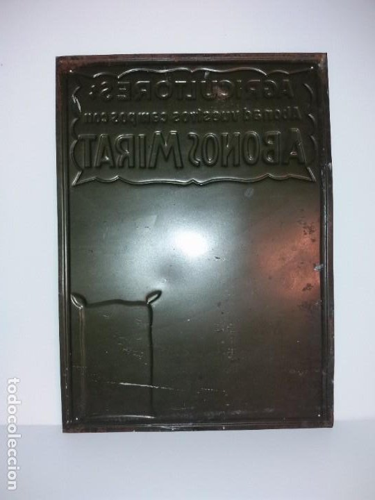 Antigüedades: FORMIDABLE CARTEL CHAPA PLANCHA ABONOS MIRAT AÑOS 30´s LITOGRAFIADA en RELIEVE - Foto 12 - 194542121