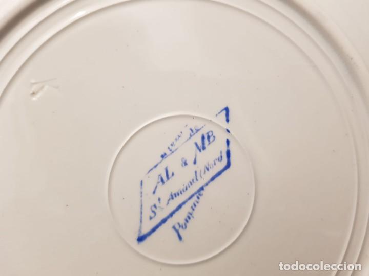 Antigüedades: 6 platos llanos terre de fer st amand s XIX. Francia - Foto 3 - 194544383