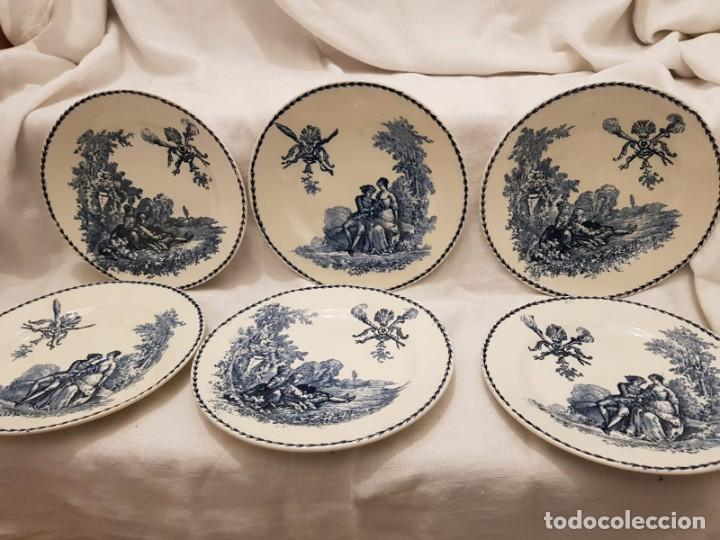 6 PLATOS TERRE DE FER MOTIVO ÉPOCA S.XIX , FRANCIA (Antigüedades - Porcelana y Cerámica - Francesa - Limoges)