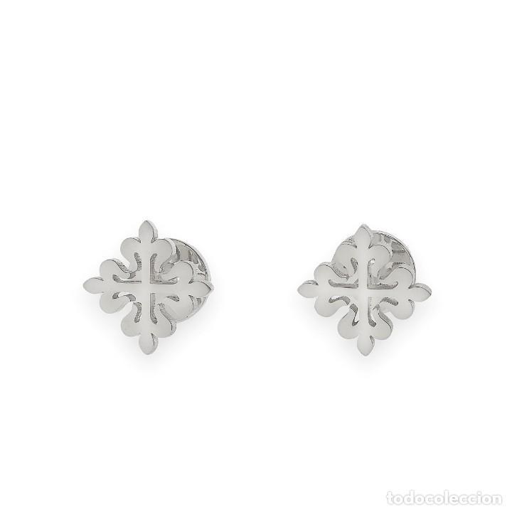 Antigüedades: Gemelos en Plata de Ley 925 con Diseño de Cruz Muy Elegantes - Foto 2 - 194550542