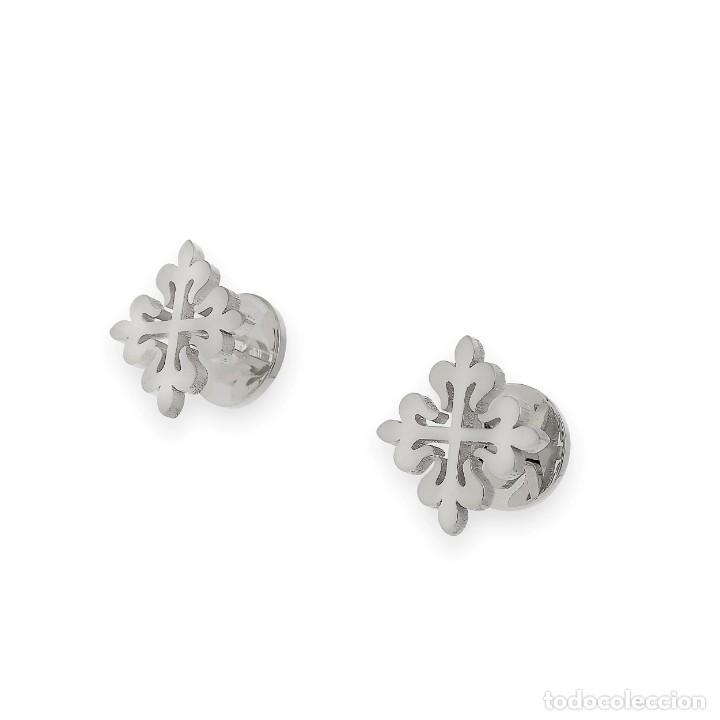 Antigüedades: Gemelos en Plata de Ley 925 con Diseño de Cruz Muy Elegantes - Foto 3 - 194550542