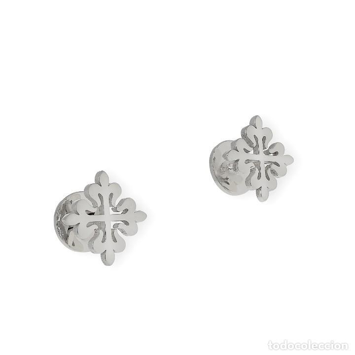 Antigüedades: Gemelos en Plata de Ley 925 con Diseño de Cruz Muy Elegantes - Foto 4 - 194550542