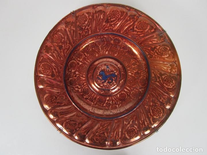 PRECIOSO GRAN PLATO METÁLICO - MANISES - DIÁMETRO - 40 CM - PRINCIPIOS S. XX (Antigüedades - Porcelanas y Cerámicas - Manises)