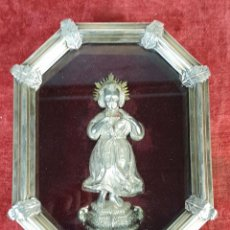 Antigüedades: SAGRADO CORAZÓN. METAL PLATEADO. MARCO DE PLATA. CIRCA 1950. . Lote 194551605