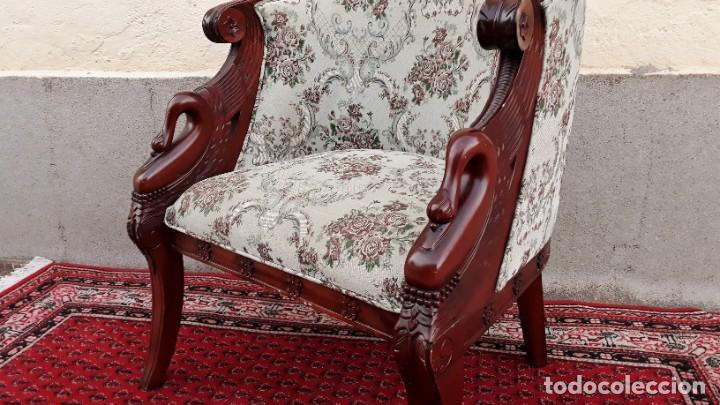 Antigüedades: Butaca antigua estilo imperio Napoleón III. CAOBA. Sillón antiguo, silla descalzadora antigua - Foto 2 - 194537660