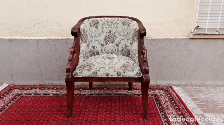 Antigüedades: Butaca antigua estilo imperio Napoleón III. CAOBA. Sillón antiguo, silla descalzadora antigua - Foto 3 - 194537660