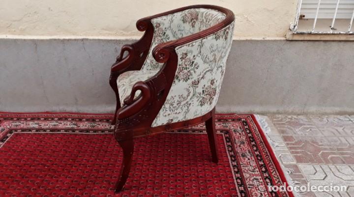 Antigüedades: Butaca antigua estilo imperio Napoleón III. CAOBA. Sillón antiguo, silla descalzadora antigua - Foto 4 - 194537660