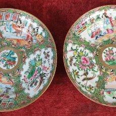 Antigüedades: PAREJA DE PLATOS. PORCELANA CHINA. FAMILIA ROSA. CANTÓN. SIGLO XIX. . Lote 194571635