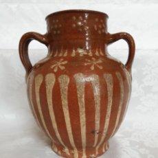 Antigüedades: MAGNIFICA ORZA ANTIGUA EN CERAMICA DE DE SALVATIERRA DE LOS BARROS,(BADAJOZ),S. XIX. Lote 194575962