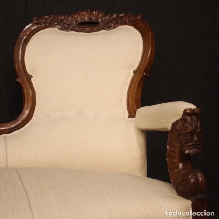 Antigüedades: Sofá italiano en madera de nogal del siglo XIX. - Foto 2 - 194588982