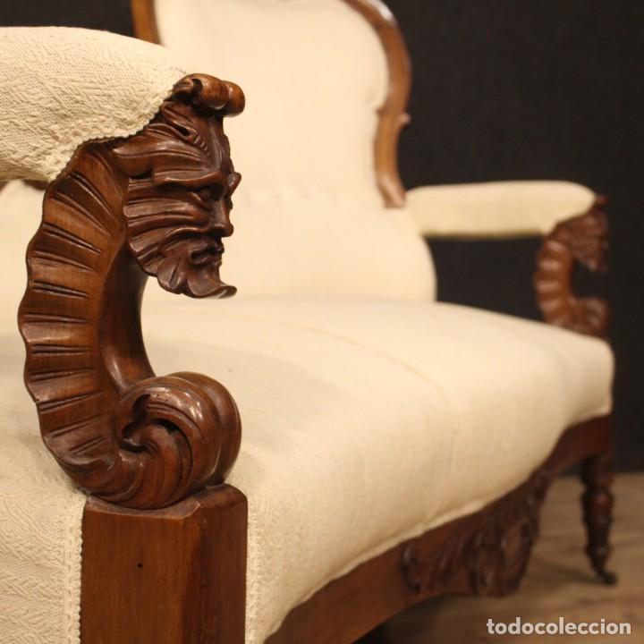 Antigüedades: Sofá italiano en madera de nogal del siglo XIX. - Foto 4 - 194588982