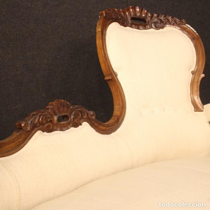 Antigüedades: Sofá italiano en madera de nogal del siglo XIX. - Foto 6 - 194588982