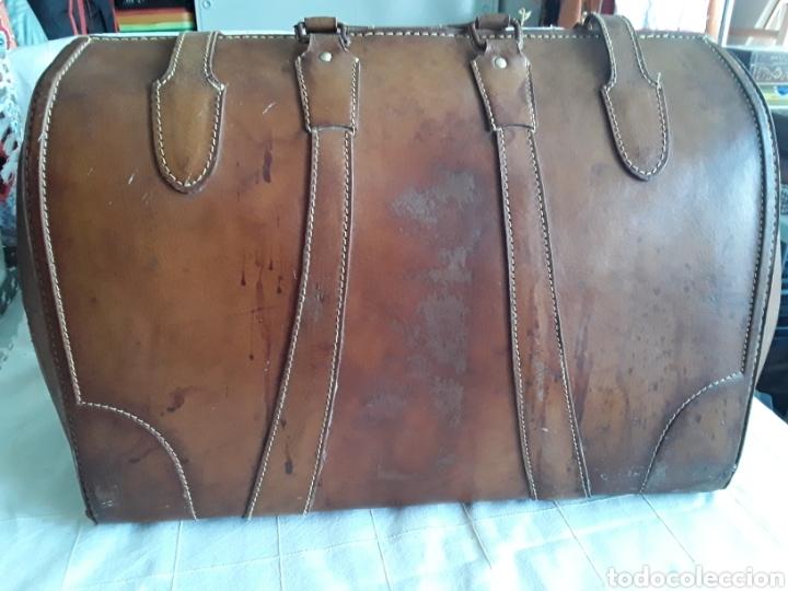 Antigüedades: Antiguo maletin de cuero tamaño grande - Foto 2 - 194593201