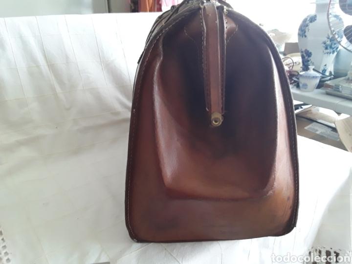 Antigüedades: Antiguo maletin de cuero tamaño grande - Foto 3 - 194593201