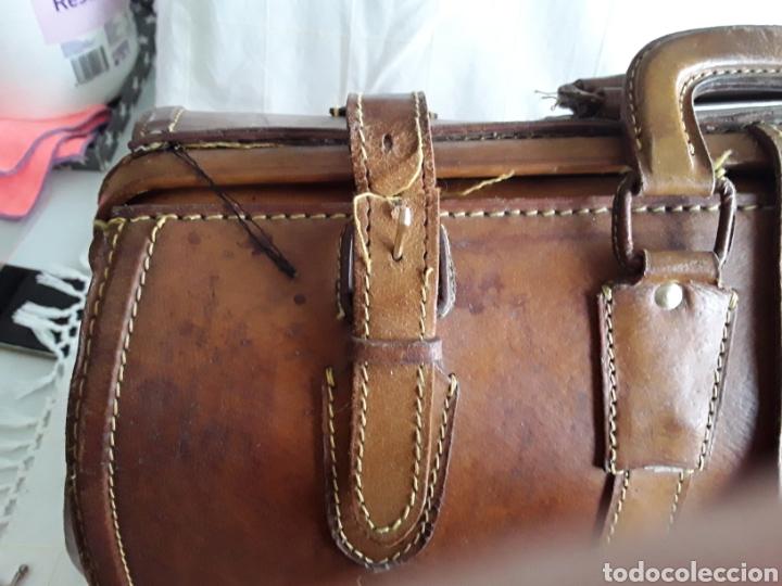 Antigüedades: Antiguo maletin de cuero tamaño grande - Foto 5 - 194593201